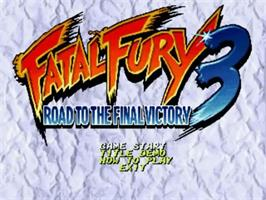 Title screen of Fatal Fury 3: Road to the Final Victory! on the SNK Neo-Geo CD.