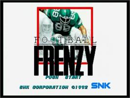 Title screen of Football Frenzy on the SNK Neo-Geo CD.