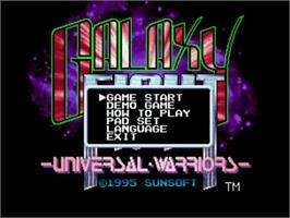 Title screen of Galaxy Fight: Universal Warriors on the SNK Neo-Geo CD.