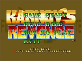 Title screen of Karnov's Revenge on the SNK Neo-Geo CD.