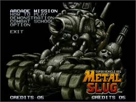 Title screen of Metal Slug: Super Vehicle-001 on the SNK Neo-Geo CD.