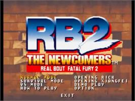 Title screen of Real Bout Fatal Fury 2: The Newcomers on the SNK Neo-Geo CD.