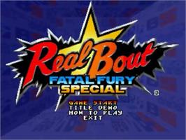 Title screen of Real Bout Fatal Fury Special on the SNK Neo-Geo CD.