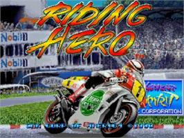 Title screen of Riding Hero on the SNK Neo-Geo CD.