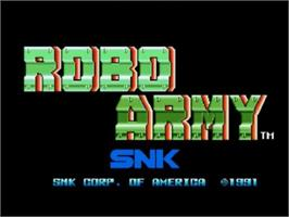 Title screen of Robo Army on the SNK Neo-Geo CD.