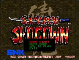 Title screen of Samurai Shodown on the SNK Neo-Geo CD.