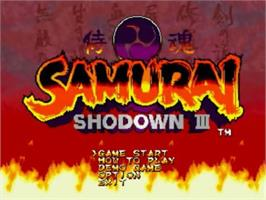 Title screen of Samurai Shodown III: Blades of Blood on the SNK Neo-Geo CD.