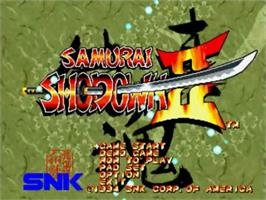 Title screen of Samurai Shodown II on the SNK Neo-Geo CD.