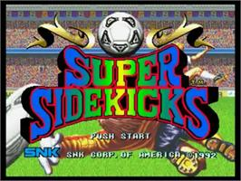 Title screen of Super Sidekicks on the SNK Neo-Geo CD.
