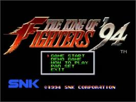 Title screen of The King of Fighters '94 on the SNK Neo-Geo CD.
