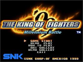 Title screen of The King of Fighters '99: Millennium Battle on the SNK Neo-Geo CD.