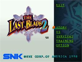 Title screen of The Last Blade 2: Heart of the Samurai on the SNK Neo-Geo CD.