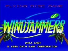 Title screen of Windjammers on the SNK Neo-Geo CD.
