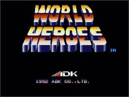 Title screen of World Heroes on the SNK Neo-Geo CD.