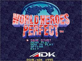Title screen of World Heroes Perfect: The Ultimate Heroes on the SNK Neo-Geo CD.