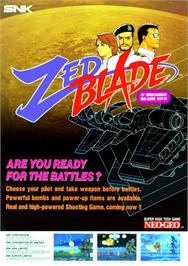Advert for Zed Blade on the SNK Neo-Geo MVS.