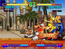 In game image of Breakers on the SNK Neo-Geo MVS.