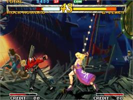 In game image of Garou - Mark of the Wolves on the SNK Neo-Geo MVS.