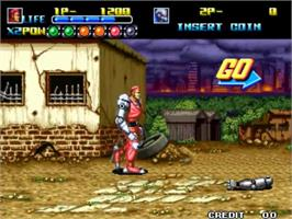 In game image of Robo Army on the SNK Neo-Geo MVS.