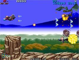 In game image of Zed Blade on the SNK Neo-Geo MVS.