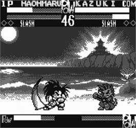 In game image of Samurai Shodown / Samurai Spirits on the SNK Neo-Geo Pocket.