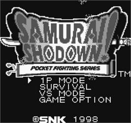 Title screen of Samurai Shodown / Samurai Spirits on the SNK Neo-Geo Pocket.