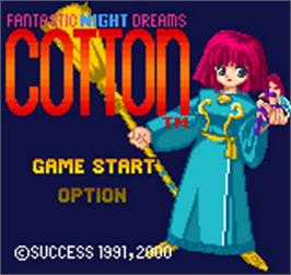 Title screen of Fantastic Night Dreams: Cotton on the SNK Neo-Geo Pocket Color.