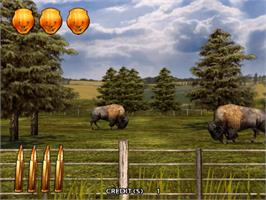 In game image of Extreme Hunting 2 on the Sammy Atomiswave.