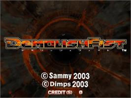 Title screen of Demolish Fist on the Sammy Atomiswave.