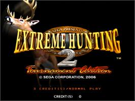 Title screen of Extreme Hunting 2 on the Sammy Atomiswave.