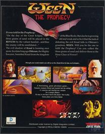 Box back cover for Ween: The Prophecy on the ScummVM.