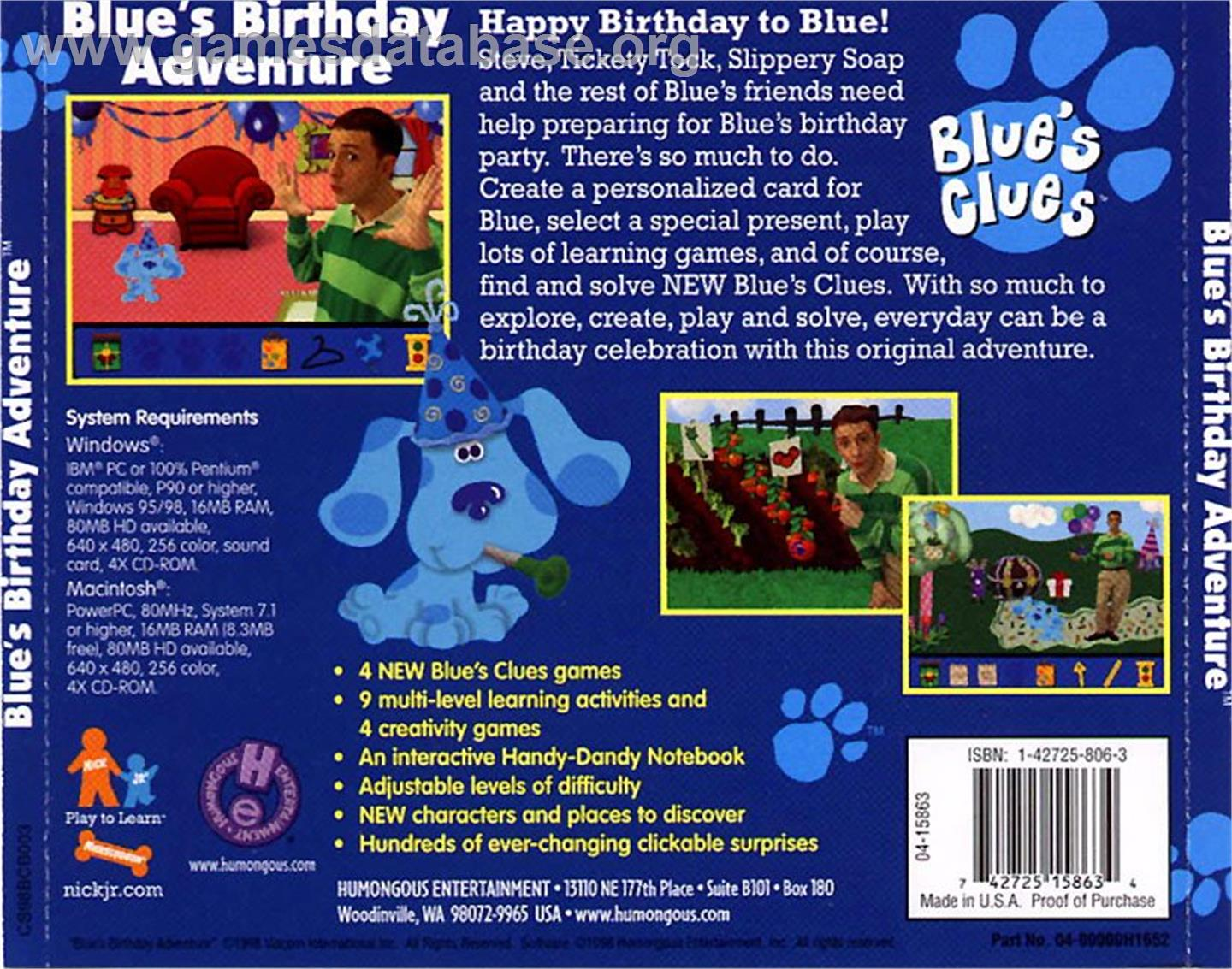 Box back cover for blue s clues blue s birthday adventure on the