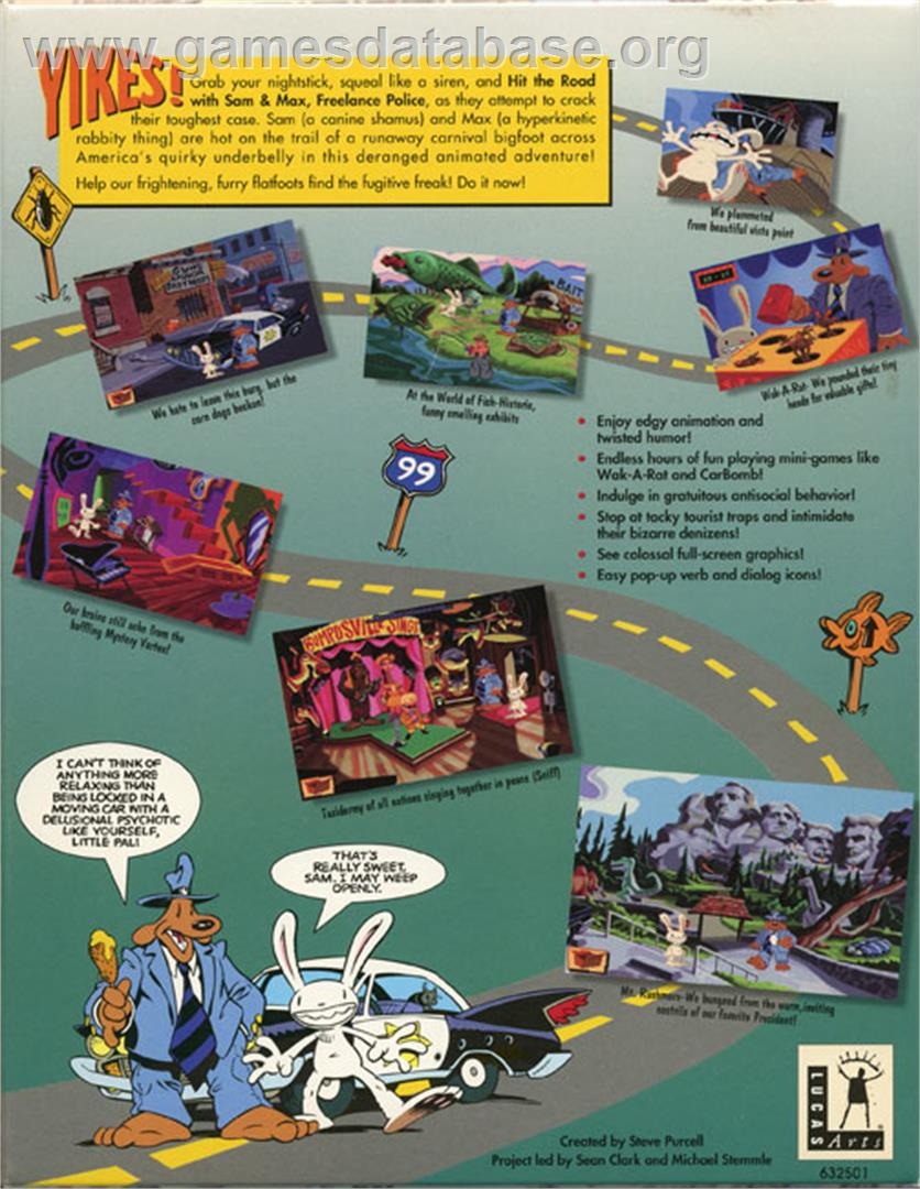 Biggest Backyard Football Hits : Box back cover for Sam & Max Hit the Road on the ScummVM