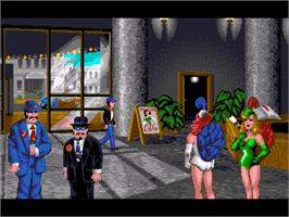 In game image of Flight of the Amazon Queen on the ScummVM.