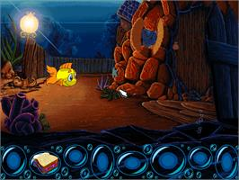 In game image of Freddi Fish: The Case of the Hogfish Rustlers of Briny Gulch on the ScummVM.