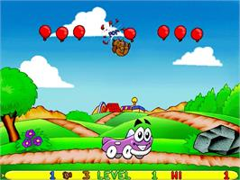 In game image of Putt-Putt and Pep's Balloon-o-Rama on the ScummVM.
