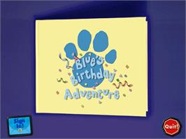 Title screen of Blue's Clues: Blue's Birthday Adventure on the ScummVM.