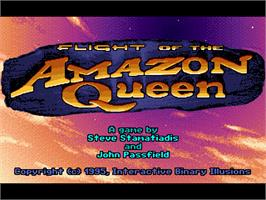 Title screen of Flight of the Amazon Queen on the ScummVM.