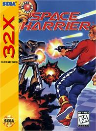 Box cover for Space Harrier on the Sega 32X.