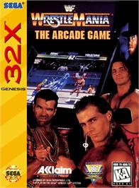 Box cover for WWF Wrestlemania on the Sega 32X.