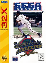 Box cover for World Series Baseball starring Deion Sanders on the Sega 32X.