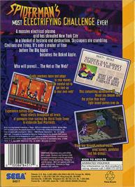 Box back cover for Amazing Spider-Man: Web of Fire on the Sega 32X.