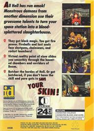 Box back cover for Doom on the Sega 32X.