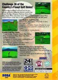 Box back cover for Golf Magazine: 36 Great Holes Starring Fred Couples on the Sega 32X.