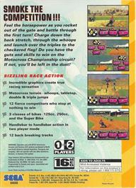 Box back cover for Motocross Championship on the Sega 32X.