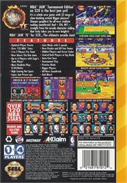 Box back cover for NBA Jam TE on the Sega 32X.