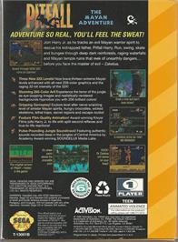 Box back cover for Pitfall: The Mayan Adventure on the Sega 32X.