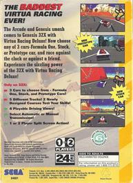 Box back cover for Virtua Racing Deluxe on the Sega 32X.