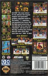 Box back cover for WWF Raw on the Sega 32X.