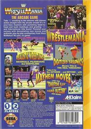Box back cover for WWF Wrestlemania on the Sega 32X.